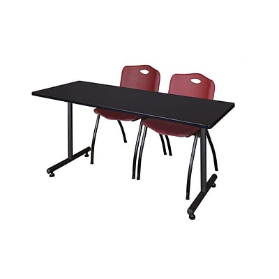 Regency 66L x 24W  Kobe Training Table- Mocha Walnut & 2 M Stack Chairs- Burgundy (MKTR6624MW47BY)