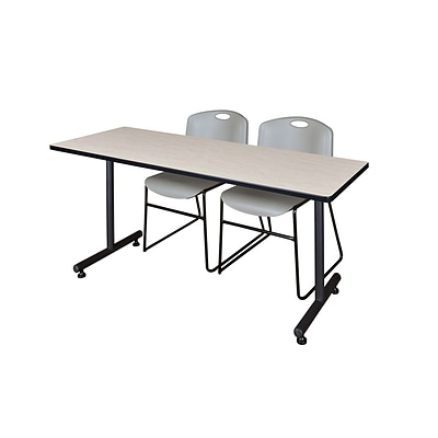Regency 60L x 24W  Kobe Training Table- Maple & 2 Zeng Stack Chairs- Grey (MKTR6024PL44GY)