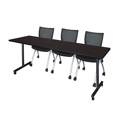 Regency 84L x 24W  Kobe Mobile Training Table- Mocha Walnut & 3 Apprentice Chairs- Black (MKCC8424MW09BK)
