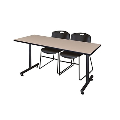 Regency 66L x 24W  Kobe Training Table- Beige & 2 Zeng Stack Chairs- Black (MKTR6624BE44BK)