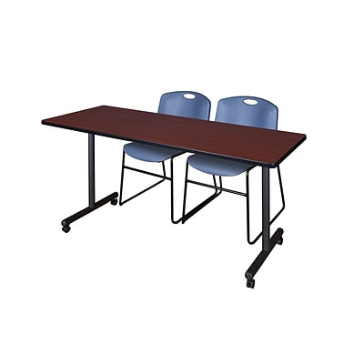 Regency 60L x 24W  Kobe Mobile Training Table- Mahogany & 2 Zeng Stack Chairs- Blue (MKCC6024MH44BE)