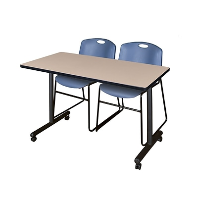 Regency 48L x 24W  Kobe Mobile Training Table- Beige & 2 Zeng Stack Chairs- Blue (MKCC4824BE44BE)