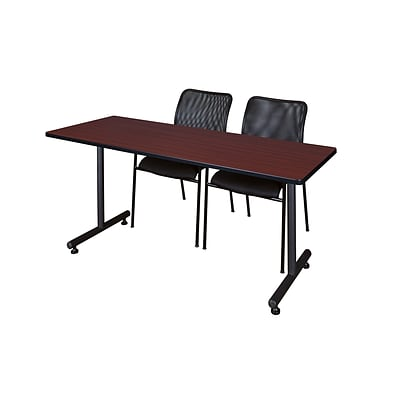 Regency 66L x 24W  Kobe Training Table- Mahogany & 2 Mario Stack Chairs- Black (MKTR6624MH75BK)