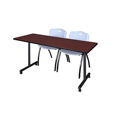Regency 66L x 24W  Kobe Mobile Training Table- Mahogany & 2 M Stack Chairs- Grey (MKCC6624MH47GY)