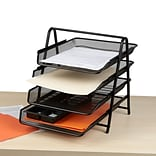 Mind Reader 4 Tier Steel Mesh Paper Tray Desk Organizer, Black (4TPAPER-BLK)
