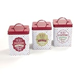 Mind Reader Tin 3 Piece Canister Set, Multi-White (CANTIN3-RED)