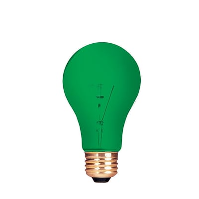 Bulbrite Incandescent (INC) A19 25W Dimmable Party Bulb Transparent Green Light Bulb, 18 Pack (105425)