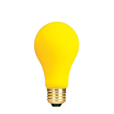 Bulbrite Incandescent (INC) A19 60W Dimmable Yellow Bug Light Bulb, 12 Pack (103060)