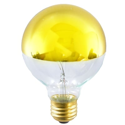 Bulbrite Incandescent (INC) G25 40W Dimmable Half Gold 2700K Warm White Light Bulb, 6 Pack (712424)