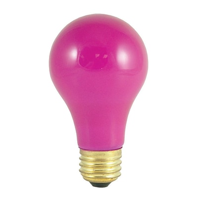 Bulbrite Incandescent (INC) A19 60W Dimmable Party Bulb Ceramic Pink Light Bulb, 18 Pack (106660)