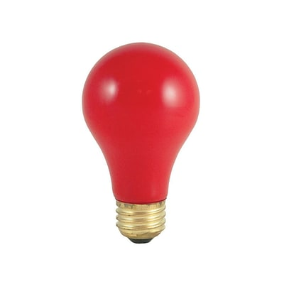 Bulbrite Incandescent (INC) A19 25W Dimmable Party Bulb Ceramic Red Light Bulb, 18 Pack (106725)