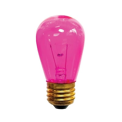 Bulbrite Incandescent (INC) S14 11W Dimmable Transparent Pink Light Bulb, 25 Pack (701611)