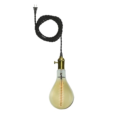 Bulbrite Dimmable Pendant Plug In PS56 60W 2200K Grand Nostalgic Antique Amber Pendant Kit, 2 Pack (810023)