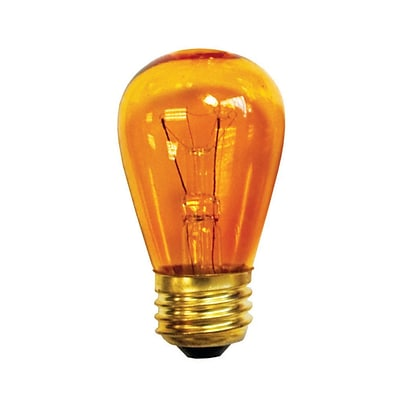 Bulbrite Incandescent (INC) S14 11W Dimmable Transparent Amber Light Bulb, 25 Pack (701211)
