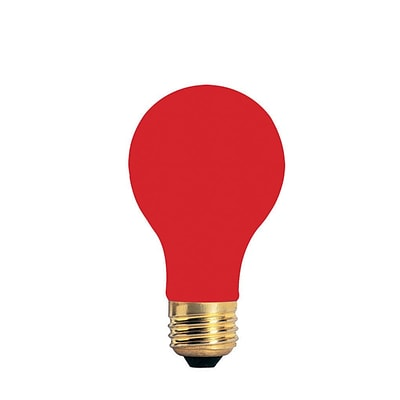 Bulbrite Incandescent (INC) A19 40W Dimmable Party Bulb Ceramic Red Light Bulb, 18 Pack (106740)