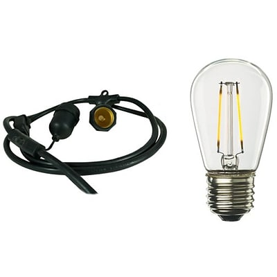 Bulbrite Dimmable String Light Kit in Black with 15 Sockets, 1 Pack - S14 2W Bulbs Included  (810075)