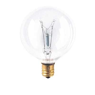 Bulbrite Incandescent (INC) G16.5 15W Dimmable Clear 2700K Warm White Light Bulb, 40 Pack (391115)