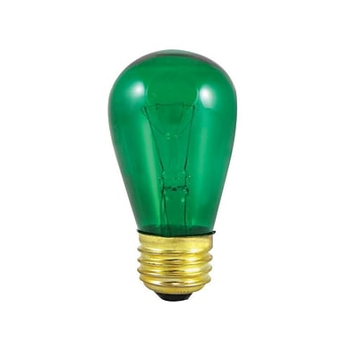 Bulbrite Incandescent (INC) S14 11W Dimmable Transparent Green Light Bulb, 25 Pack (701411)