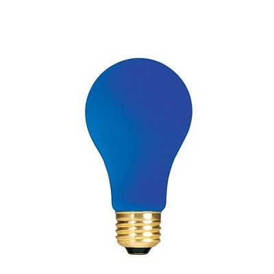 Bulbrite Incandescent (INC) A19 60W Dimmable Party Bulb Ceramic Blue Light Bulb, 18 Pack (106360)