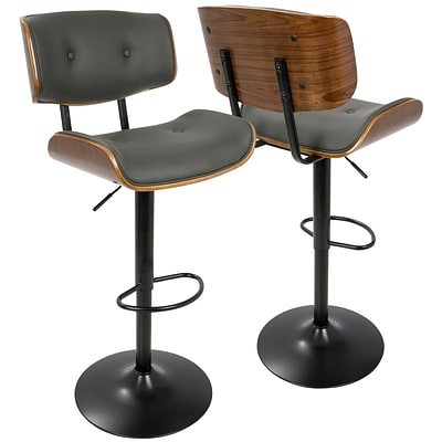 LumiSource Lombardi Mid-Century Modern Adjustable Barstool in Walnut and Grey (BS-JY-LMB WL+GY)