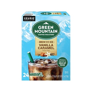 Green Mountain Coffee Roasters Brew Over Ice Vanilla Caramel Iced Coffee, Keurig K-Cup Pod, 24/Pack