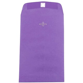JAM Paper® 6 x 9 Open End Catalog Colored Envelopes with Clasp Closure, Violet Purple Recycled, 10/P