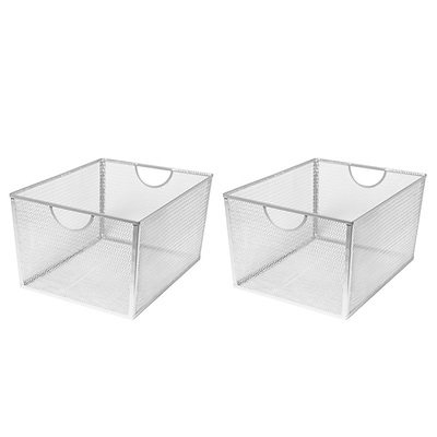 Seville Classics Extra-Large Wire Nesting Utility Shelf Storage Basket, 2-Piece Set, Silver (WEB388)