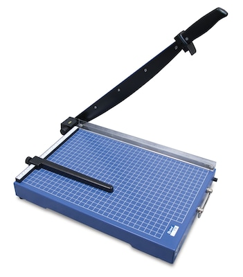 "United T15 15.4"" Office-Grade Guillotine Paper Trimmer, 15 Sheet Capacity, Blue"