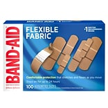 Band-Aid Brand Flexible Fabric Adhesive Bandages, Assorted Sizes, 100 Count (117178)