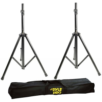 Pyle Heavy-Duty Aluminum Anodizing Dual Speaker Stand with Traveling Bag Kit