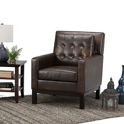 Simpli Home Carrigan Club Chair in Distressed Brown (AXCCHR-013-DBR)