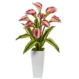 Nearly Natural Callas with Tropical Leaves in Glossy Planter (1462-PK)