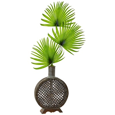 Nearly Natural Fan Palm in Open Weave Vase (1477)