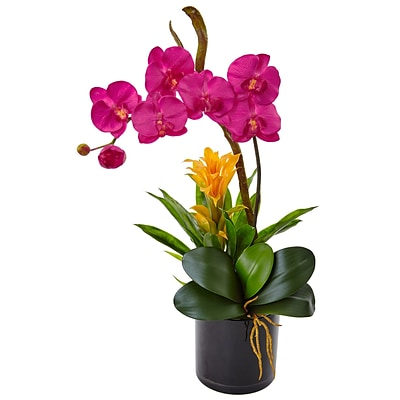 Nearly Natural Orchid and Bromeliad in Glossy Black Cylinder Planter (1478-DP)