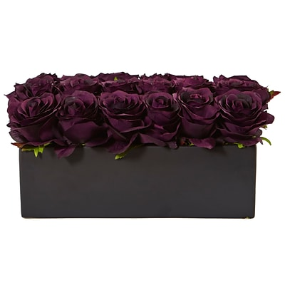 Nearly Natural Roses in Rectangular Planter (1487-PE)