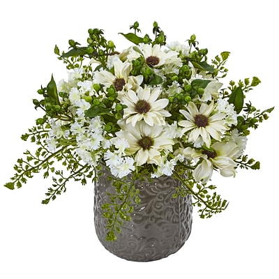 Nearly Natural Daisy Bush in Gray Decorative Vase (1495-WH)