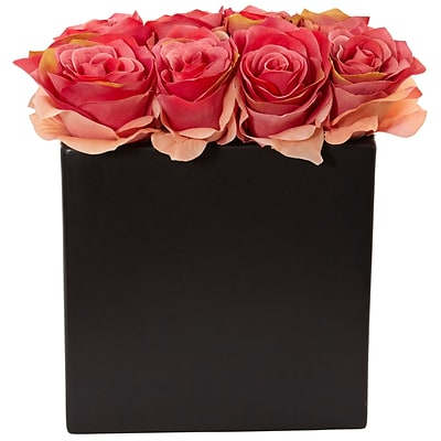 Nearly Natural Roses Arrangement in Black Vase (1510-DP)