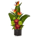 Nearly Natural Bird of Paradise Tropical Arrangement in Black Vase (1512-MA)