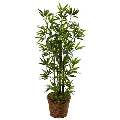 Nearly Natural 4' Bamboo Tree in Coiled Rope Planter (5808)