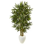 Nearly Natural 5.5' Bamboo Tree in White Oval Planter (5809)