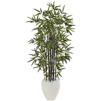 Nearly Natural 5' Black Bamboo Tree in White Oval Planter (5810)