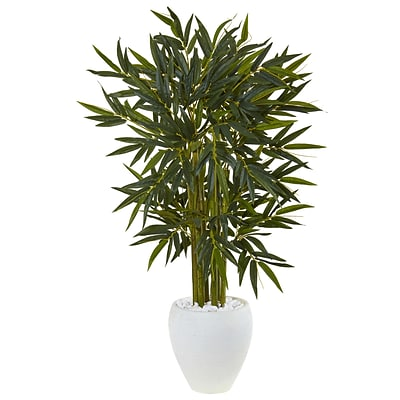Nearly Natural 4.5' Bamboo Tree in White Oval Planter (5811)