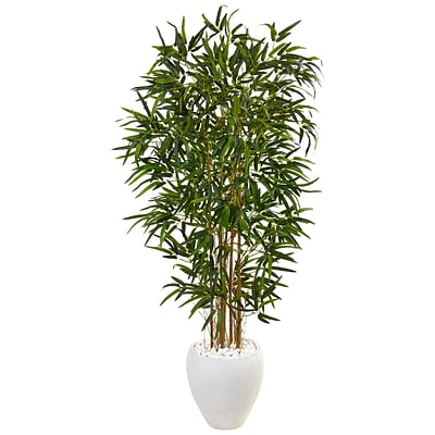 Nearly Natural 5' Bamboo Tree in Oval White Planter (5817)
