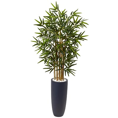Nearly Natural 4' Bamboo Tree in Gray Cylinder Planter (5819)