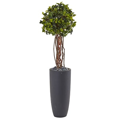 Nearly Natural 3.5' English Ivy Tree in Gray Cylinder Planter, UV Resistant (5828)