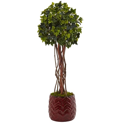 Nearly Natural 2.5' English Ivy Tree in Red Planter UV Resistant (5830)