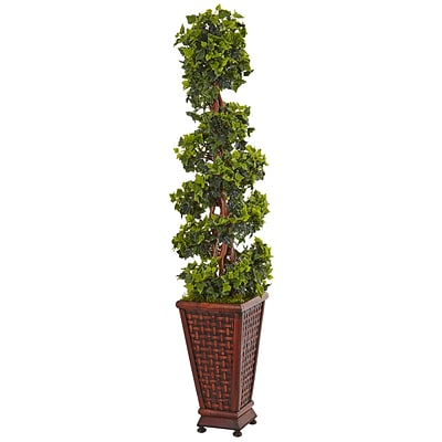 Nearly Natural 4.5' English Ivy Tree in Decorative Wood Planter (5839)
