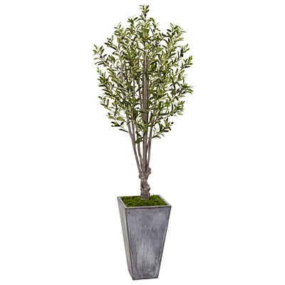Nearly Natural 6' Olive Tree in Stone Planter (5852)