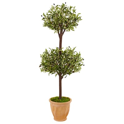 Nearly Natural 4.5' Olive Topiary Tree in Terracotta Pot (5858)