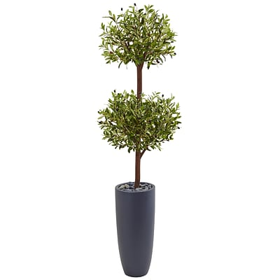 Nearly Natural 6'H Olive Double Tree in Gray Cylinder Planter (5859)